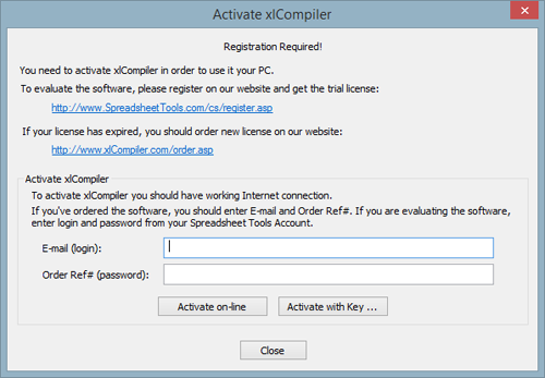 xlCompiler - Enter Activation Code dialog