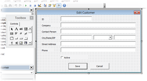 Example of the Excel form